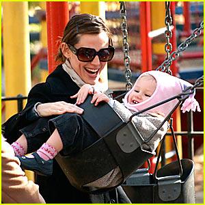 Violet Affleck Loves Her Swing Set