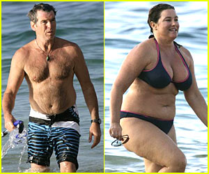 Pierce Brosnan is Shirtless, Wife in Bikini