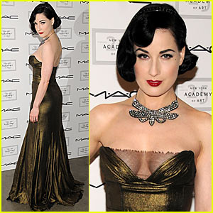 "Dita Von Teese strikes a pose at the ""Take Home A Nude"" art and auction ..."