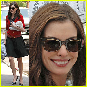Anne Hathaway is the Lady in Red