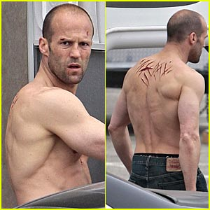 Jason Statham is Scarred Shirtless