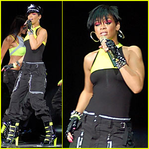 Rihanna Glows in Neon Yellow