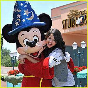 Selena Gomez and Mickey Mouse Hug It Out