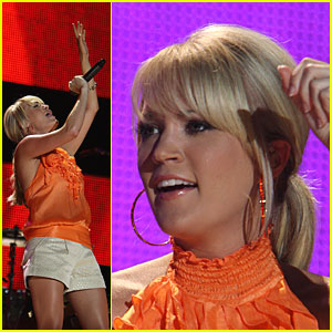 Carrie Underwood Peels Out in Orange