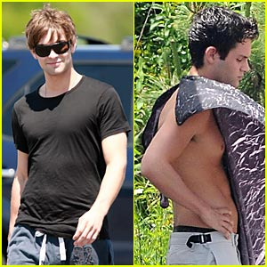 Penn Badgley is Shirtless