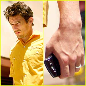 Ethan Hawke Shows Off Wedding Ring