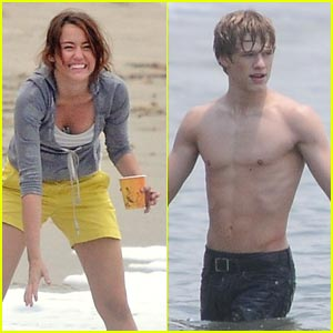 Miley Cyrus & Lucas Till Hit The Beach