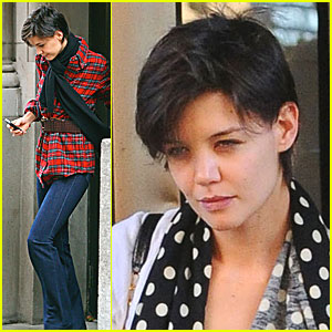 Katie Holmes Has Polka Dot Plaid Party
