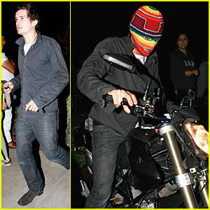 Orlando Bloom is a Masked Motorcyclist