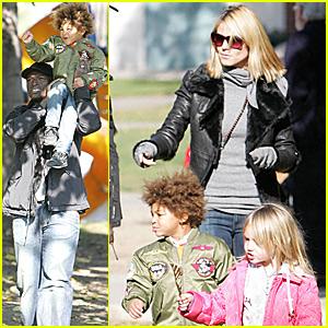 Heidi Klum, Seal and Kids Hit the Park