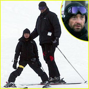 Hugh Jackman Hits Ski Slopes