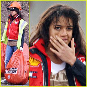 Michelle Rodriguez Has Trash Time