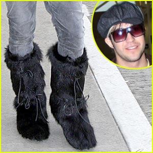 Pete Wentz Rocks Fur Boots
