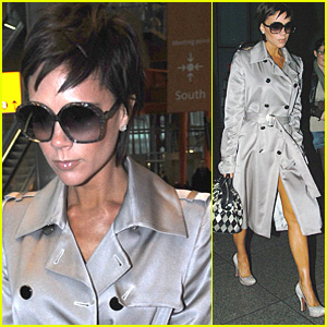 Victoria Beckham Shines in Silver at Heathrow