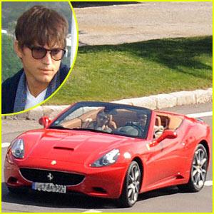 Ashton Kutcher Fires Up The Ferrari