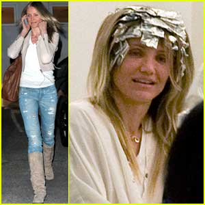 Cameron Diaz Has Foil Hanging Hair