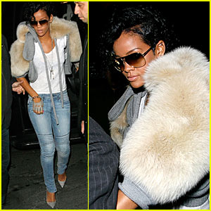 Rihanna Has Furry Shoulders