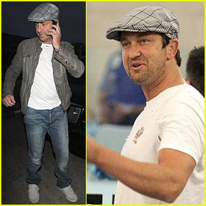 Gerard Butler Caps It Off Newsboy Style