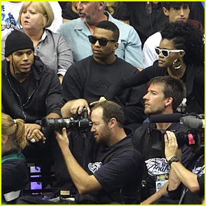 Chris Brown Kicks it With Rihanna Lookalike