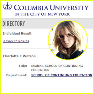 Emma Watson To Attend Columbia University