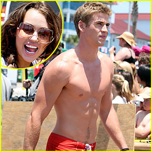 Liam Hemsworth is Shirtless, Miley Cyrus is Smiling