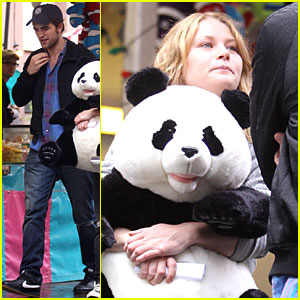 Robert Pattinson & Emilie de Ravin: Bear Hug!