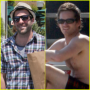 Zachary Quinto Goes Beach Shirtless