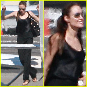 Angelina Jolie Jumps Off A Plane