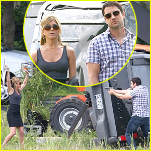 Gerard Butler Points Gun At Jennifer Aniston