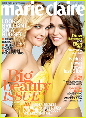 Drew Barrymore & Ellen Page: Marie Claire Cover Girls!