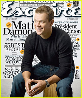 Matt Damon Covers 'Esquire' October 2009