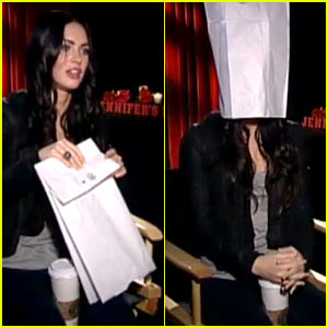 Megan Fox Wears Paper Bag Over Head During Interview