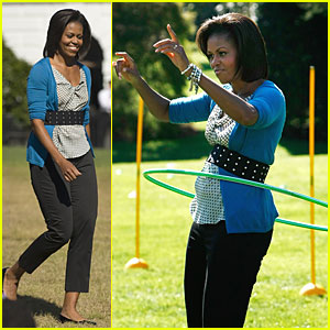 Michelle Obama Hula-Hoops for Healthy Kids