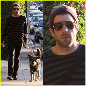 Zachary Quinto Walks His Furry Friend