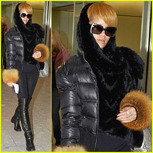 Rihanna is a Fur Cuffs Cutie