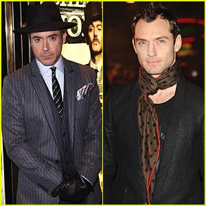 Robert Downey, Jr. & Jude Law Premiere 'Sherlock Holmes' in London