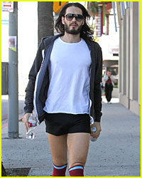 Russell Brand Wears Short Shorts