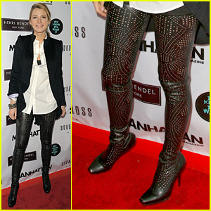 Blake Lively Rocks Perforated Thigh-High-Boots