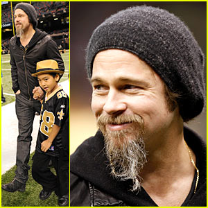 Brad Pitt & Maddox: New Orleans Football Time!