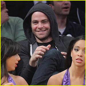 Chris Pine Checks Out The Laker Girls