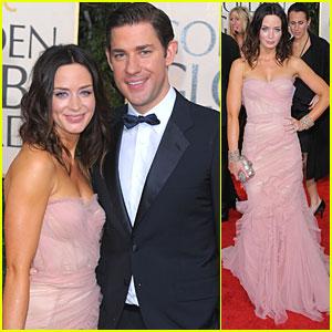 John Krasinski & Emily Blunt - Golden Globes 2010 Red Carpet