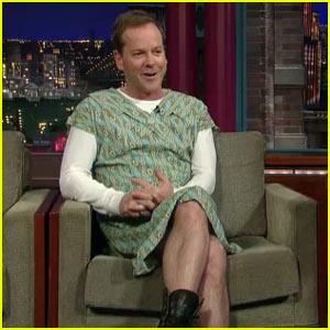 Kiefer Sutherland Wears Dress on Letterman
