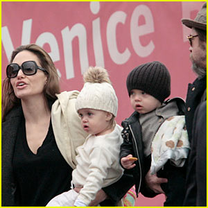Brad Pitt & Angelina Jolie's Twins: From Venice To Paris