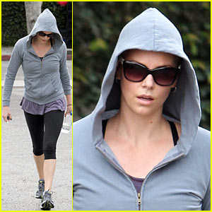 Charlize Theron Stays Hoodie Hidden