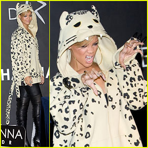 Rihanna Does 'The Claw' in Leopard Hoodie