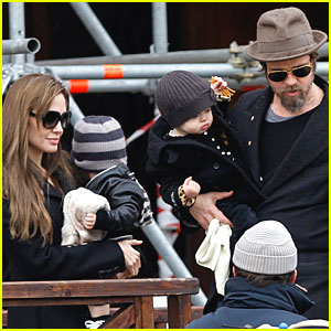 Angelina Jolie & Brad Pitt Take The Twins for a Spin