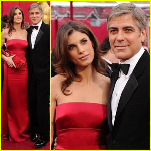 George Clooney & Elisabetta Canalis -- Oscars 2010 Red Carpet