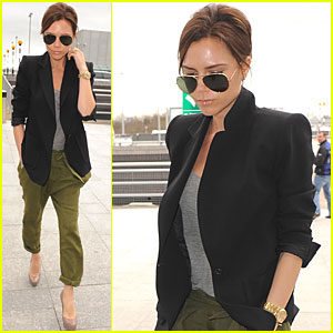 Victoria Beckham Heads Home to Heathrow