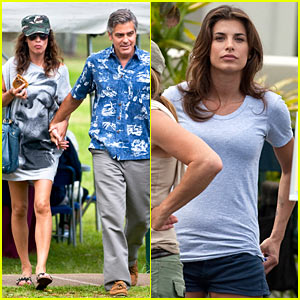 Elisabetta Canalis Visits George Clooney on Set!