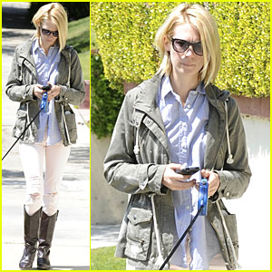 January Jones Takes Her Furry Friend for a Walk